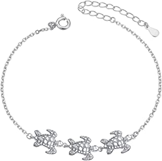 (Health and Longevity) S925 Sterling Silver Turtle Animal Earrings Necklace Ring Bracelet for Women