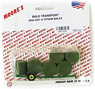Moores Farm Toys 1/64 Plastic Green Frame Round Bale Transport and 6 Hay Bales