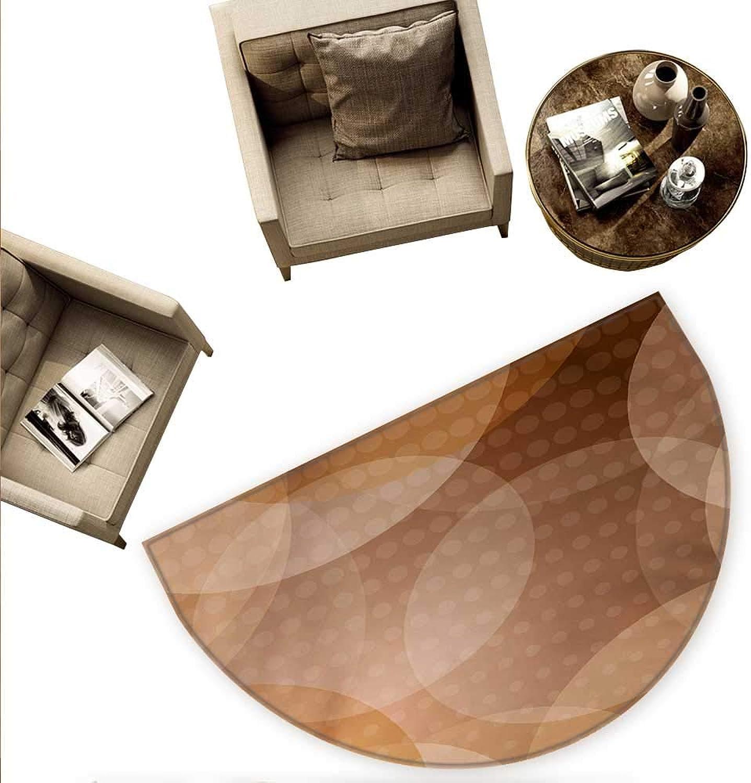 Tan Half Round Door mats Overlapping Circles with Big and Small Polka Dots Pattern Gradient Modern Display Bathroom Mat H 70.8  xD 106.3  Tan Brown White