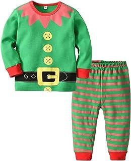 d23c00a45c295 BESTOYARD Pyjama Bébé Enfant Noel Pyjama Elfe Vetement Lutin Noël Costumes  Elfe Vert Taille 85-