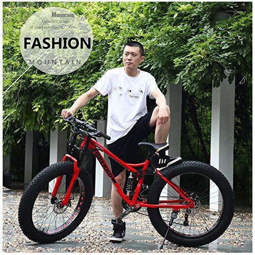 YXYLD 26 Zoll Mountainbike, Offroad Fahrrad, Rahmen aus Kohlenstoffstahl, Großer Reifen Vollfederung Mountain Bike,Strand Schneemobil für Damen und Herren