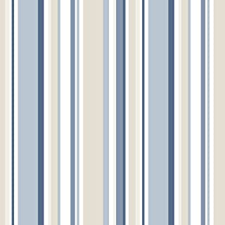 Norwall SY33963 Step Stripe Pre-Pasted Wallpaper, Navy, Blue, Beige, Denim, French Vanilla
