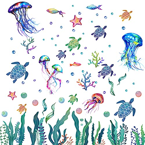 128 Pieces Ocean Grass Seaweed Wall Decals Under The Sea Wall Decals Colorful Bubbles Starfish Coral Sea Turtles Jellyfish Fish Wall Stickers for Baby Bedroom Bathroom Living Room Wall Decoration