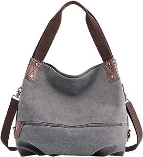 PB-SOAR Damen Modern Canvas Schultertasche Umhängetasche Shopper Handtasche Henkeltasche Hobo Bag Beuteltasche Grau