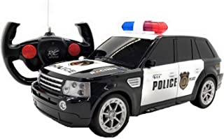 O.B Toys&Gift Full Function RC Police Jeep Car 1/16 Scale Electric Vehicle w/LED Lights, Realistic Police Siren & Rechargeable Battery, Remote Control Police Car