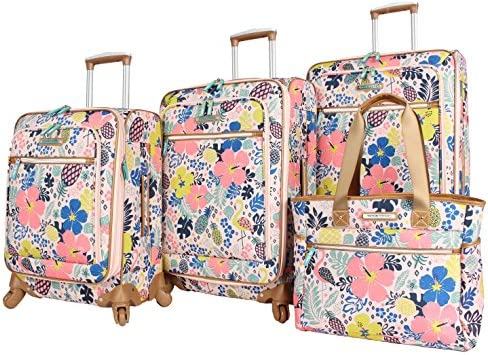 Lily Bloom Luggage Set 4 Piece Suitcase Collection with Spinner Wheels for Woman (On The Prowl)