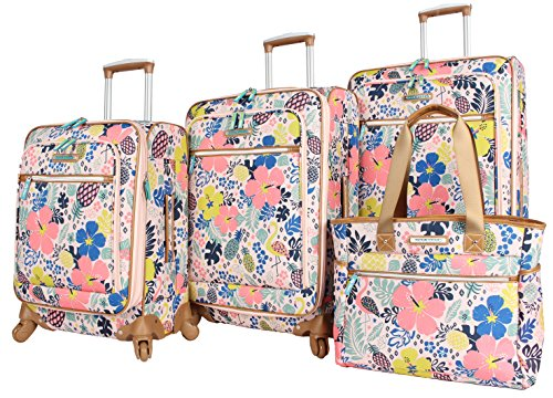 Lily Bloom Luggage Set 4 Piece Suitcase Collection With Spinner Wheels For Woman (Trop Pineapple)