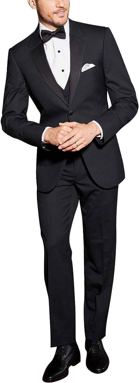 NCDIMS Wedding Suits for Men Groom Black 3 Pieces Men's Suits Formal Wear Regular Fit