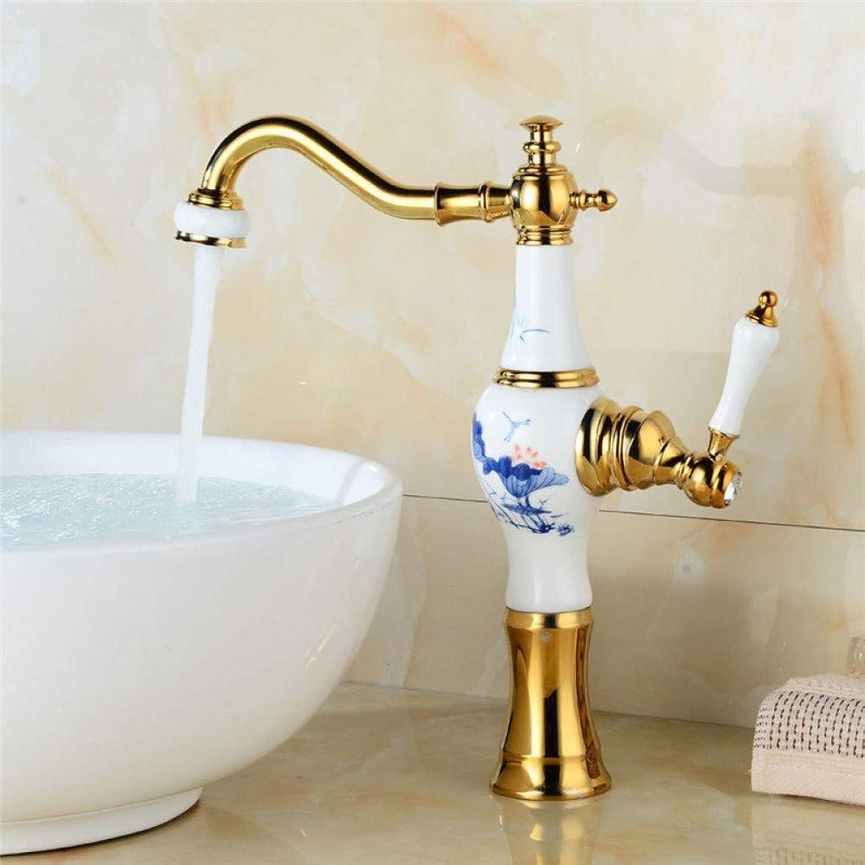 Waschtischarmaturen YHSGY Bad Waschbecken Wasserhahn Goldene Messing Waschbecken Mischbatterie Hot & Cold Wasserhahn Einhand Keramik Vase Form Bad Kran Waschtischarmatur