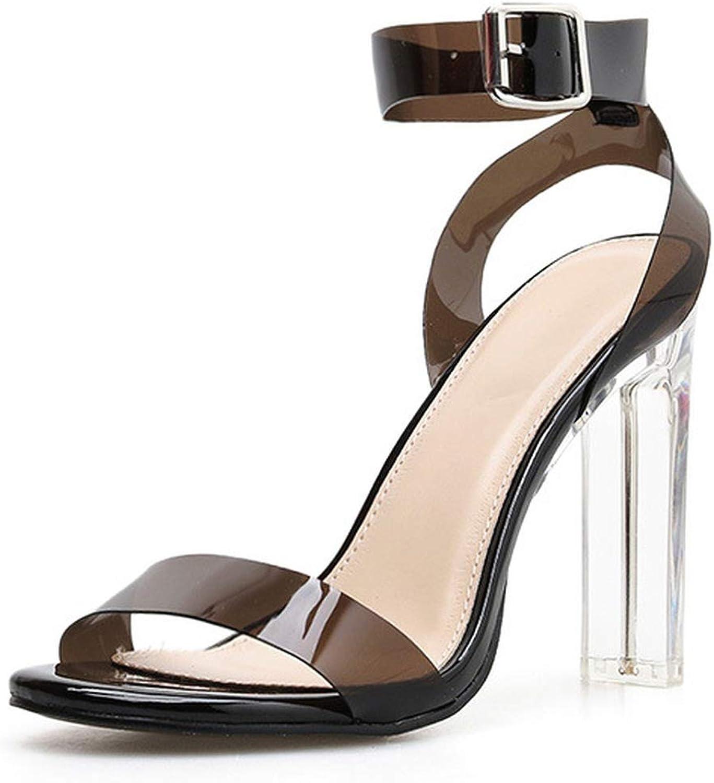Fashion PVC Women Sandals Summer Open Toed High Heels Transparent Heel Sandals Woman Party shoes