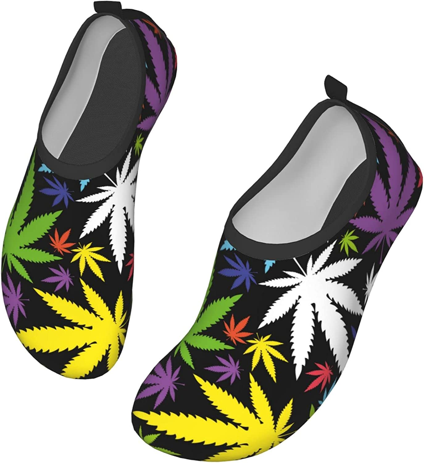 Cannabis Leafs Pattern Water Shoes Outdoor Beach Pool Shoes Quick-Dry Aqua Yoga Socks for Women and Men Beach Swim Sports 10 inch
