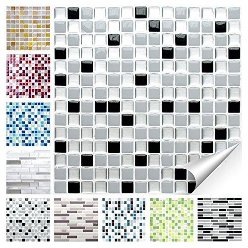 Wandora 1 Set Fliesenaufkleber 25,3 x 25,3 cm schwarz weiß Silber Design 19 I 3D Mosaik Fliesenfolie Küche Bad Aufkleber W1536