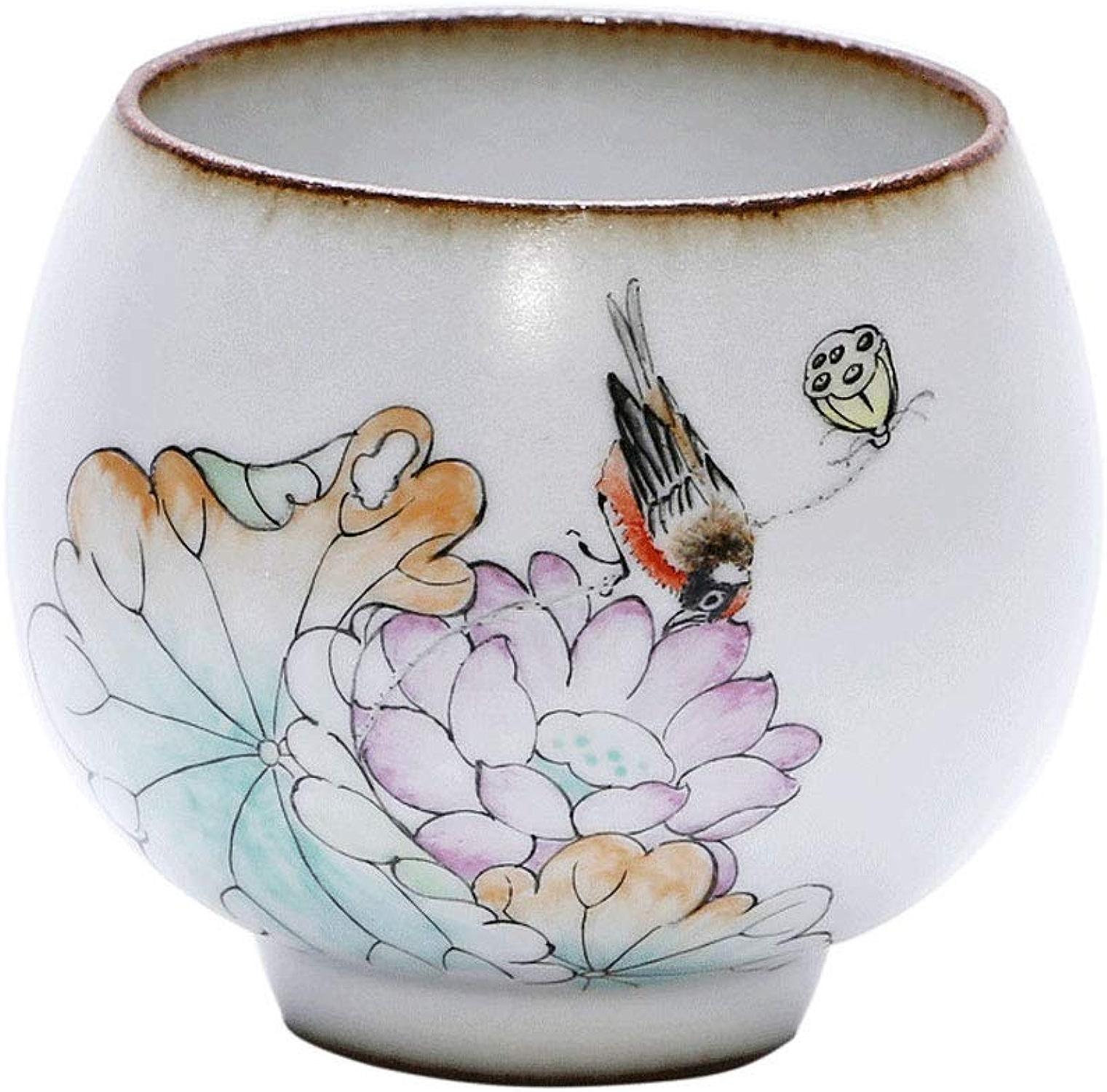 Tasse à thé en céramique de Kung Fu Ru Kiln Main faite à la main tasse de thé peinte à la main Lotus unique tasse à thé Home-use Tea Set