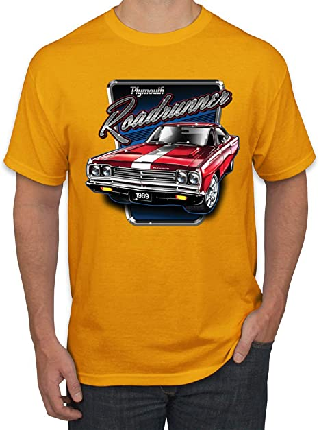 1969 Gold Plymouth Road Runner Custom Hot Rod Diner T-Shirt 69 Muscle Car Tees