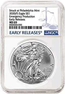 2020 American Silver Eagle Emergency Production Emergency Production $1 MS-69 NGC MS
