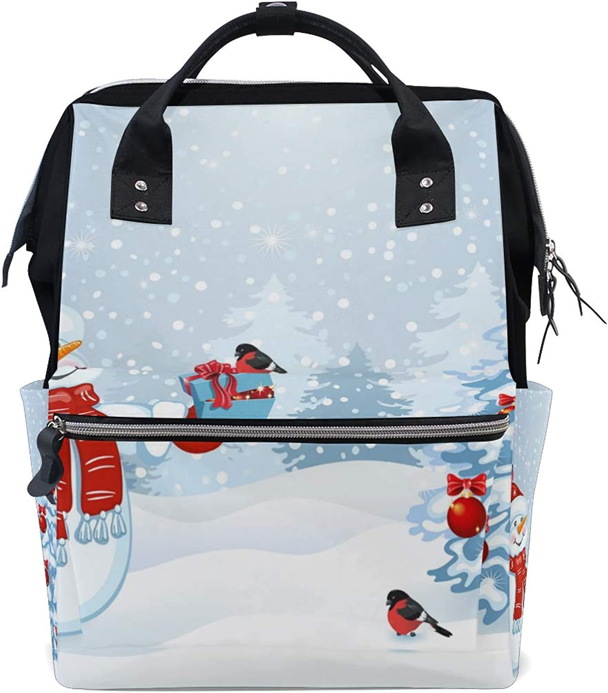 My Little Nest Large Capacity Baby Diaper Bag Christmas Tree Snowman Durable Multi Function Travel Backpack for Mom Girls