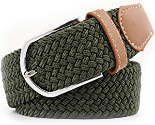 SGJFZD Men's and Women's Canvas Woven Elastic Pin Buckle Belt Personality Fashionable Student Belt (Color : Green, Size : 105cm)