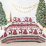 Weihnachtliches Steppdecken-Set, gestreifte Tagesdecke, Rentier-Schneeflocken, Bettwäsche-Set, 3-teilig, gestepptes Bettbezug-Set mit 2 Kissenbezügen, Elchen, Muster, Dekor für Kingsize-Bett