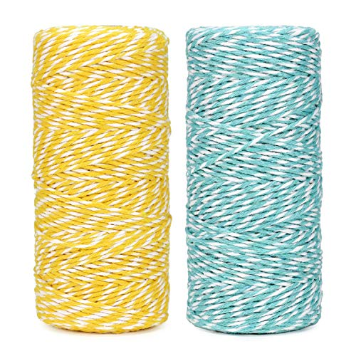 Cotton Bakers Twine String 328 Feet 100m for Baking, Crafts and Christmas Holiday Wrapping Cord (Yellow/Mint)
