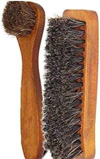 JTKDL 2 Pieces Horsehair Shoes Polish Brushes Care Clean Applicators Shoe Brush Multifunctional Home Shoes Brush Shoe Shine Kit Shoe Brushes