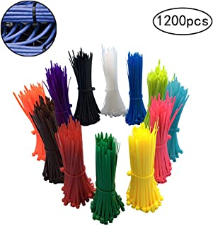 1200 Pieces Zip Ties, Multi-Purpose Assorted Colored Self-Locking Nylon Cable Zip Ties in 12 Different colour for Home Office Garden Garage and Workshop,4 inch