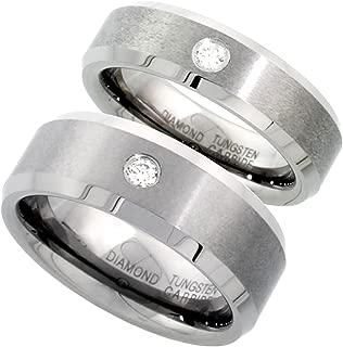 2-Ring Set 8 & 6 mm Tungsten Diamond Wedding Ring for Him & Her Matte Beveled Comfort fit, Sizes 5-13