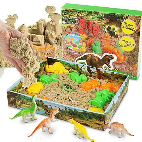 Magicfun 3D Sand Set Beinhaltet 500g natürlichen Indoor Spielsand, 10 Dinosaurier Förmchen, 1 Beutel Dinosaurier Fossilien und 1 3D Sand-Box zum Formen von Figuren. Set für Kinder