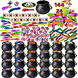 JOYIN 144 Pcs Halloween Game Toy Gifts for Kids, 24 Pack Prefilled Cauldrons with Halloween Toy Eyeballs, Witch Fingers, Sticky Hands, Spider Rings and Stretchy Worms for Kids Halloween Party Favors Trick or Treat, Halloween Gift Exchange, Carnival Game Prizes