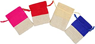 """4 Mixed Color Premium Drawstring Bags Bag (Size:-4"""" X 3"""" i.e. 10CM X 7.5CM) Small Pouches Gifts Return Gift Potlis Party F..."""