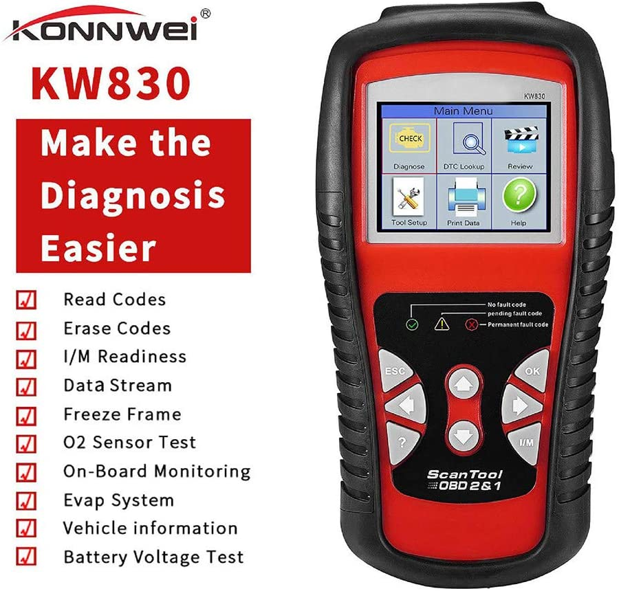 KW830 OBD2 Auto Scanner 5 ☆ popular Complete Free Shipping Car Diagnostic Tool Scan Reader Code L