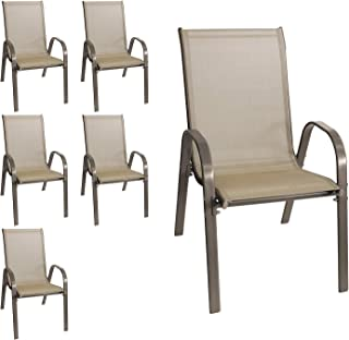 Wohaga® New York Lot de 6 chaises de jardin empilables avec revêtement en textile et structure en acier revêtu par pulvéri...