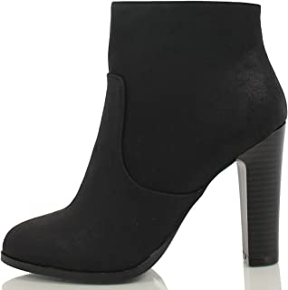 Delicious Women's Admit Almond Toe Chunky Wooden Heel Ankle Bootie