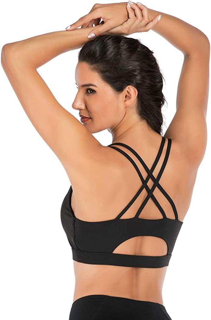 FLORATA Padded Strappy Sports Bras for Women - Activewear Tops for Yoga Running Fitness