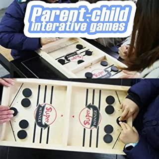 Fast Sling Puck Game 2 in 1 Ice Ball Air Hockey Game, Wood Competitive Table and Ball Catapult, Bumper Chess Child Interactive Game, 2 Player Finger Hockey Board, Interactive for Family Party