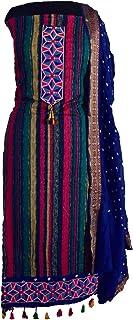 KATHIWALAS Women's Cotton Silk Bandhani Kutchh Work Dress Material (COLOUR BATIK, BLUE, Free Size) …