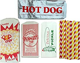 Outside the Box Papers Ultimate Carnival Party Pack - 24 Foil Hot Dog Bags 24 Printed Pickle Bags , 24 Peanut Bags ,24 Pop...