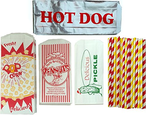 Outside the Box Papers Ultimate Carnival Party Pack - 24 Foil Hot Dog Bags 24 Printed Pickle Bags , 24 Peanut Bags ,24 Popcorn Bags and 25 Each of Red and Yellow Paper Straw