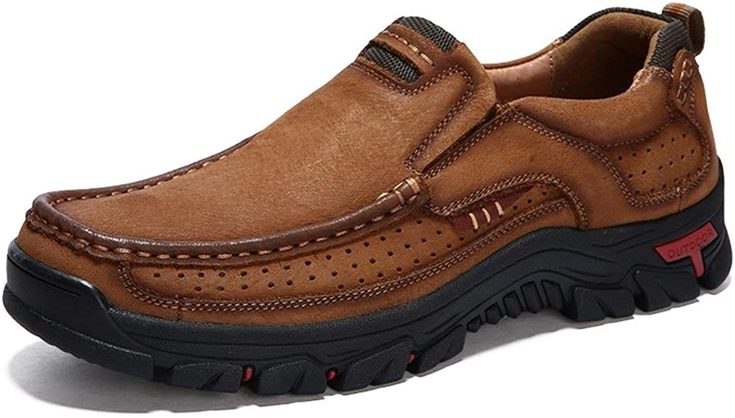 Easy Go Shopping Oxford shoes Mens Formal shoes Slip On Style OX Leather Comfortable Low-top Breathable Outsole Simple Solid color Cricket shoes (color   Light Brown, Size   9.5 UK)