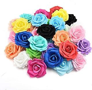 fake flowers heads in Bulk Wholesale Artificial PE Foam Roses Flowers for Home Wedding Decoration Scrapbooking Handmade Kissing Balls 20pcs 7cm (Multicolor)