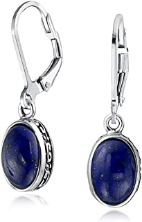 Boho Bali Indonesian Style Oval Leverback Drop Dangle Earrings For Women 925 Sterling Silver Gemstone Birthstone Colors
