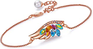 CDE Rose Gold Plated ''Birthstone Feather Women Bracelet Bangle Embellished with Crystals from Swarovski Adjustable Chain Bracelets for Women Girls Fashion Jewelry for Mother Day