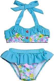 YOUNGER TREE 2PCS Toddler Baby Girl Swimwear Ruffle Sleeveless Polka Dot Bikini Swimsuit Summer Outfits for Beach