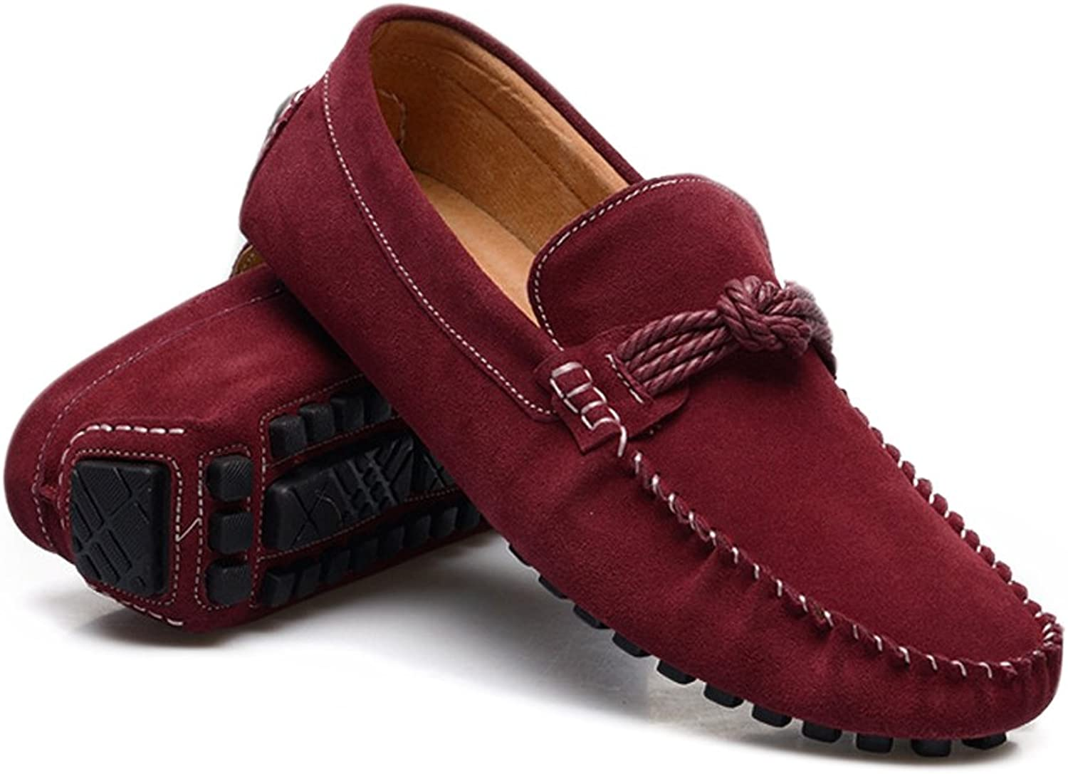 Men's Driving Penny Slip-on Loafers Moccasins Hemp Rope Decor Genuine Leather Cricket shoes