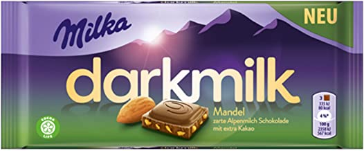 Milka Dark Milk Almond Dark Alpinemilk Chocolate Bar Candy Original German Chocolate 85g/2.99oz
