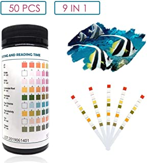 Capetsma 9 in 1 Aquarium Test Strips, Best Kit for Water Quality Testing for Freshwater Saltwater Pool and Pond - Test pH, Nitrate, Nitrite, Carbonate, Hardness, Chlorine, Alkalinity, Iron, Copper