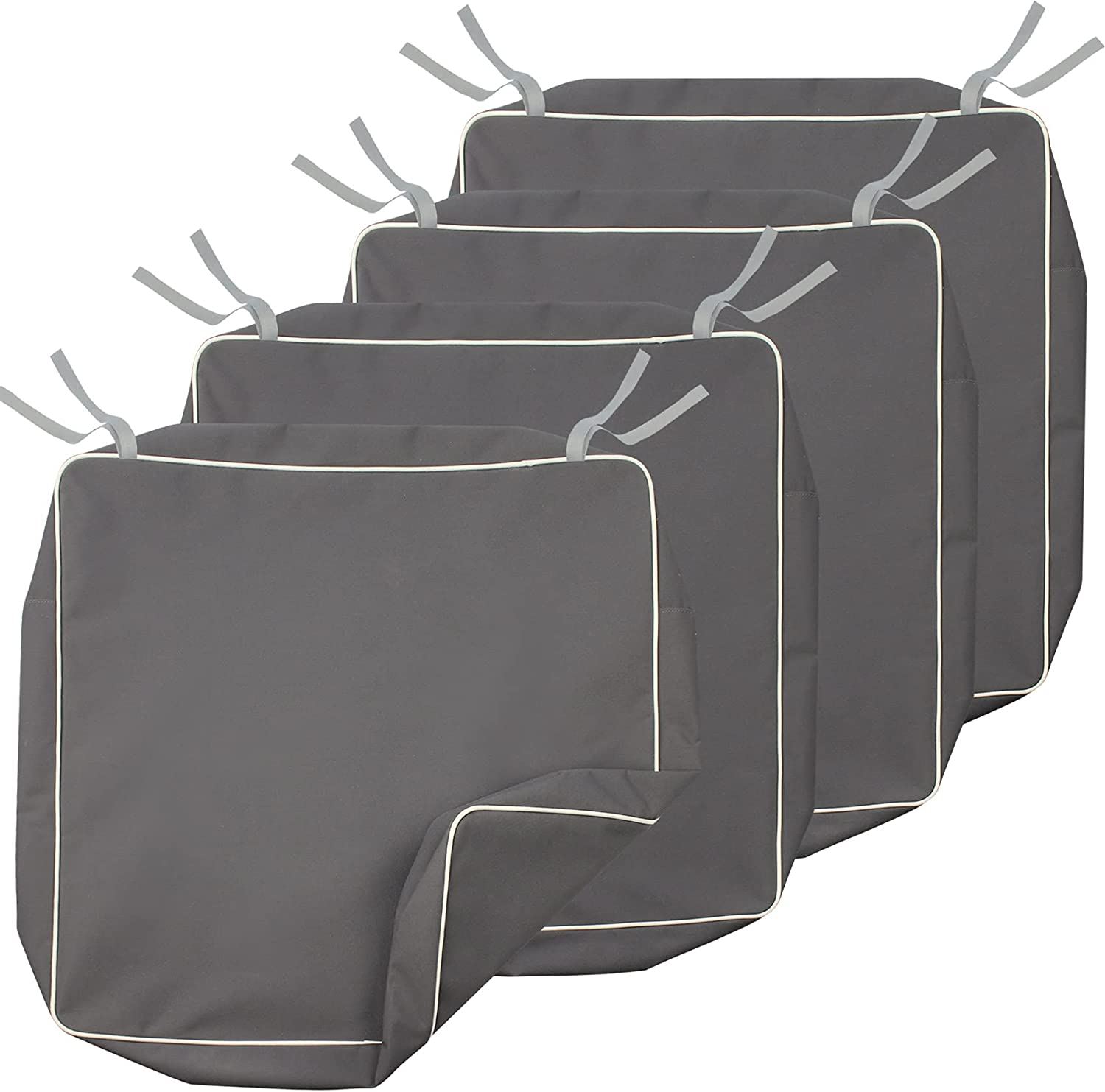 Porch Shield Square Patio Chair Seat Cushion Covers 21 x 21 Inch, Outdoor Waterproof Cushion Slip Covers 4 Pack, Grey
