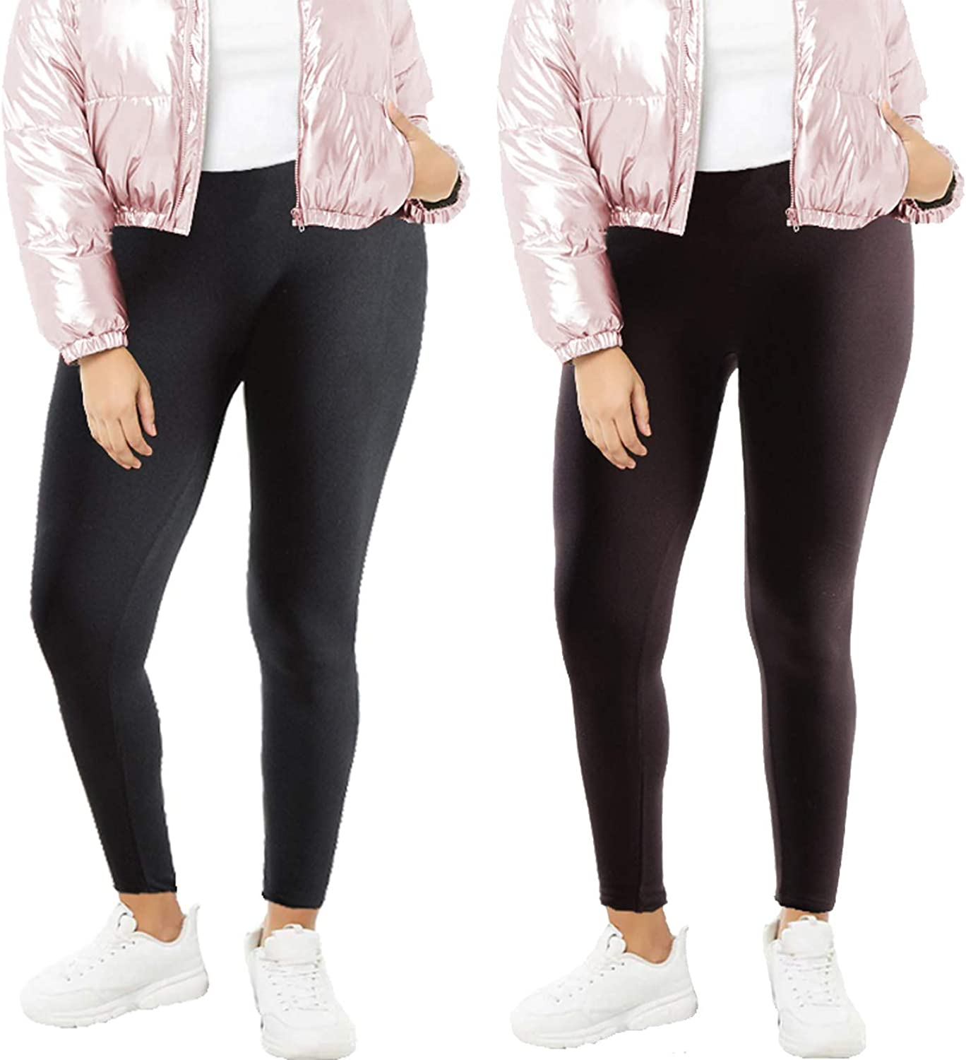 Women's Plus Size Fleece Lined Leggings (Sold as Single 2 and 5 Pack)