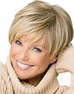 Blonde Short Wig for Women Short Wigs Synthetic Hair Wigs Bob styles Straight Hair Mix colors Free Cap Hairnets Gift