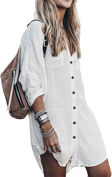 Tops Casuales de Manga Larga de Las Mujeres, Blusa de Lino de algodón Vestido Alto bajo Dobladillo Camisa