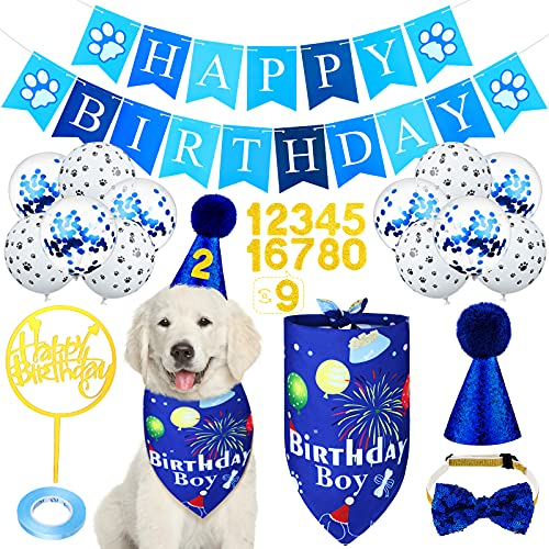 Dog Birthday Bandana Set Shining Dog Bow Tie Dog Birthday Bandana Scarf Dog Birthday Hat 0-8 Figure Collar Cake Topper Dog Pet Happy Birthday Banner and 10 Pieces 12 Inch Balloon for Dog Pet